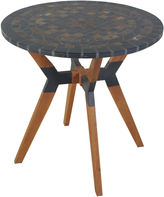 OUTDOOR INTERIORS Outdoor Interiors 30 in. Rustic Slate Bistro Tablewith Eucalyptus and Metal Base