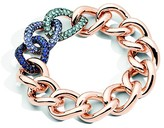 Pomellato Tango Bracelet in 18K Rose Gold with Aquamarine, Tanzanite and Blue Sapphire set in Burnished Silver