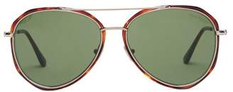 Tom Ford Oversized Metal And Acetate Aviator Sunglasses - Mens - Tortoiseshell