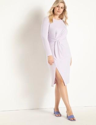 ELOQUII Knot Front Slit Dress