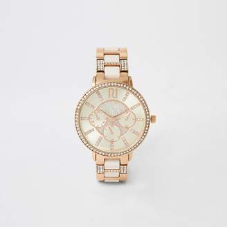 River Island Pink rose gold colour diamante watch