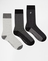 French Connection 3 Pack Socks - Black