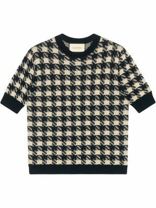 Gucci Houndstooth Knit Top