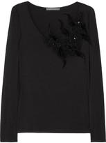 Alberta Ferretti Embellished jersey top