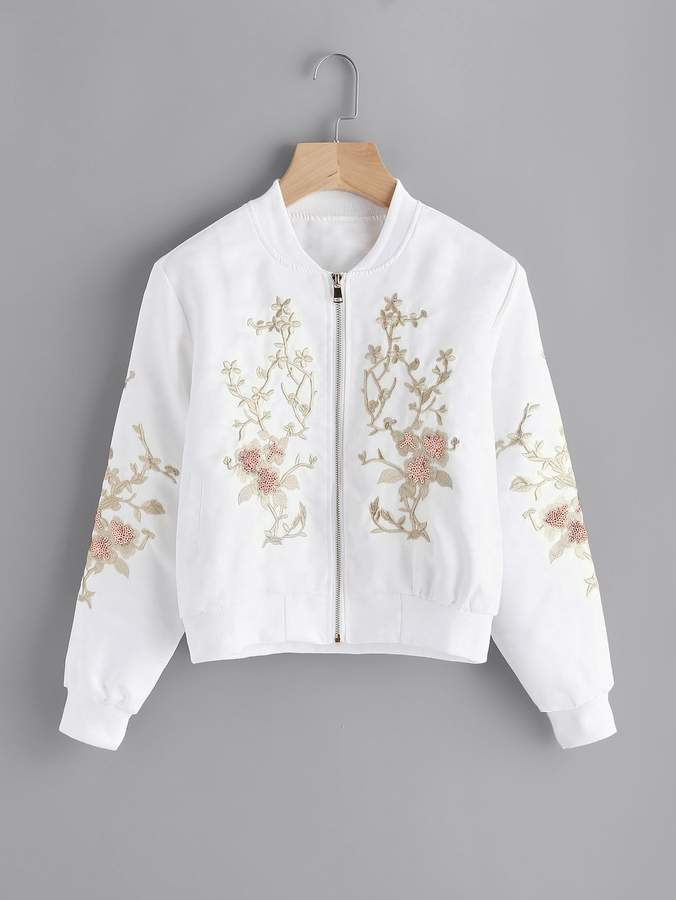 Plus Contrast Sequin Embroidered Jacket
