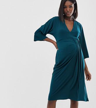 ASOS DESIGN Maternity Exclusive midi dress with drape waist detail