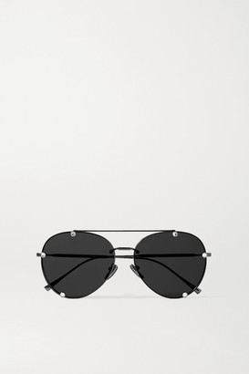 Valentino Garavani Glamtech Aviator-style Crystal-embellished Gunmetal-tone Sunglasses