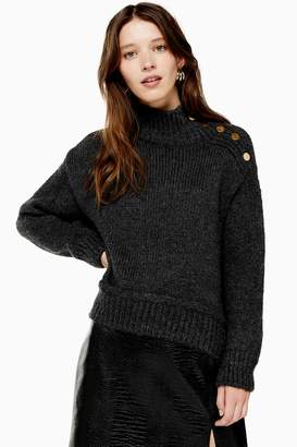 Topshop Womens Grey Knitted Button Shoulder Jumper - Charcoal