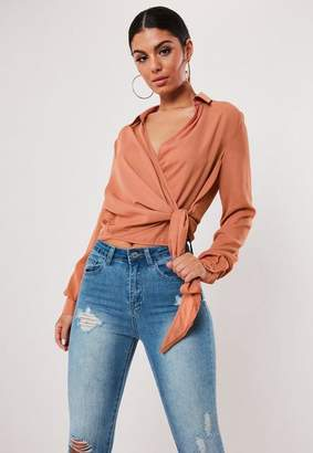 Missguided Orange Wrap Over Tie Side Blouse