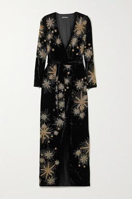 retrofete Rita Embellished Velvet Maxi Wrap Dress - Black