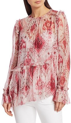 Zimmermann Wavelength Boho Print Asymmetric Silk Blouse