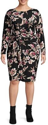 Rachel Roy Plus Floral-Print Faux Wrap Dress