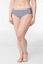 Classic Women's Plus Size Beach Living Mid Waist Bikini Bottoms-White/Deep Sea Stripe