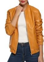 ACEVOG Women's Quilted Biker Bomber Zipper Faux Leather Moto Coat Jacket ( M)