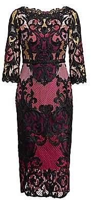 Marchesa Women's Lace Colorblock Midi Dress