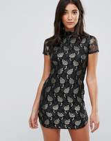 AX Paris Lace Metallic Leaf Shift Dress