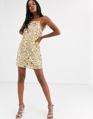 Asos Design DESIGN mini cami dress in disc sequin-Beige