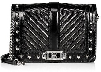 Rebecca Minkoff Small Love Chevron Quilted Snakeskin-Embossed Leather Crossbody Bag