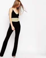 Asos Flared Jumpsuit in Chenille with Metallic Crochet Trims