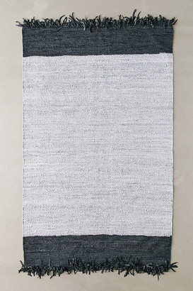 Urban Outfitters Jones Leather Woven Rag Rug