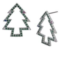 Betsey Johnson Cubic Zirconia Christmas Tree Stud Earrings