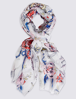 M&S Collection Nautical Tattoo Print Scarf