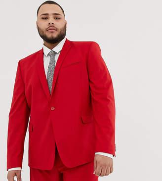 Asos Design DESIGN Plus skinny suit jacket in red