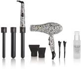 Royale USA Tourmaline Pro Blow Dryer & 3-in-1 Zebra Curling Set & Natural Hair Serum 9-Piece Set - Black/White