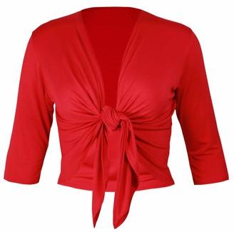 Purple Hanger New Ladies Half Three Quarter Sleeve Tie Shrug Womens Plus Size Jersey Bolero Cardigan Top Black Size 16-18