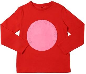 Stella Mccartney Kids Logo Print L/s Cotton Jersey T-shirt