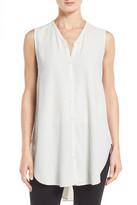 Eileen Fisher Silk Georgette Crepe Asymmetrical V-Neck Top (Petite)
