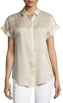 Lafayette 148 New York Gemma Short-Sleeve Button-Front Blouse, Gold