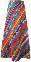 Tory Burch embroidered panel A-line skirt - women - Cotton - 12