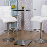 Matrix 43-inch Height Round Glass Brushed Stainless Steel Bar Table Pub Table