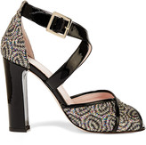 RED Valentino Patent leather-trimmed glittered woven sandals