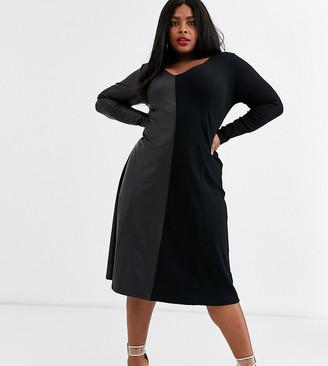 Asos DESIGN Curve long sleeve half and half rib leather look dress-Black