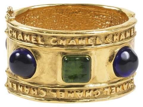 Chanel Gold Tone Hammered Blue Green Stone Embellished Cuff Bracelet