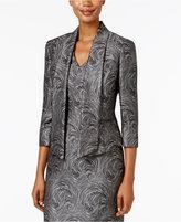 Kasper Metallic-Print Jacquard Open-Front Jacket