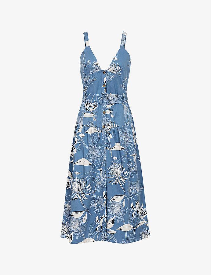 Thumbnail for your product : Reiss Noah floral-print cotton-blend midi dress