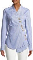 Tibi Jones Asymmetric Striped Cotton Shirt
