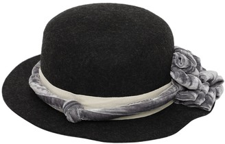 Tia Cibani Wool Hat W/ Flower Applique