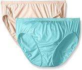 Ellen Tracy Women's 2 Pack Microfiber Hi Cut Brief Panty