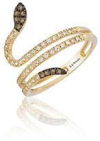 LeVian 14K Yellow Gold, Diamond and Chocolate Diamond Snake Ring, 0.4 TCW