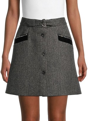 Miu Miu Herringbone Wool Skirt
