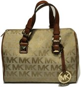Michael Kors MD Grayson Satchel Handbag Signature Jacquard Beige Camel Luggage with Cross Body Shoulder Strap