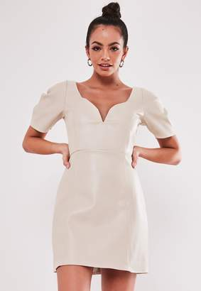 Missguided Stone Faux Leather Plunge Puff Sleeve Dress