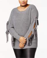Soprano Trendy Plus Size Tie-Sleeve Sweater