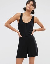 Asos Ribbed Button Through Lounge Romper