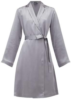 La Perla Belted Short Silk-satin Robe - Womens - Dark Grey