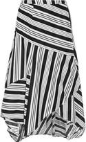 Zimmermann Ticking striped linen and cotton-blend wrap skirt